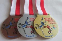 Medal metalowy, średnica 5 cm, loga w formie kolorowych nadruków