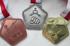 Eleganckie medale, w nieregularnym kształcie, na turniej karate
